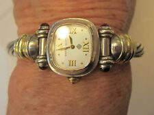 """David Yurman 7mm Sterling Cable Watch with Garnets 14k Gold Trim 6"""" Box Booklet"""