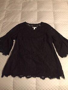 Isaac Mizrahi Live! Size 1X 3/4 Sleeve Stretch Lace Tunic Top