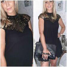 LIPSY SIZE 14 BLACK BEAD EMBROIDERED CHIFFON SWING DRESS BNWT @ NEXT (8824)