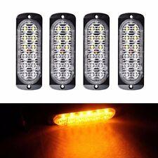 4X 12LED Light Flash Emergency Car Vehicle Warning Strobe Flashing Amber/Amber