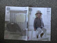"""King Cole Aran Knitting Pattern 4919 Baby Girls Cardigan 14""""-22"""" (3103)"""