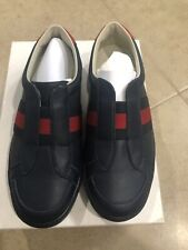 NEW Auth. Gucci Youth Kids Boys Slip In Shoes Sneakers Leather Size 31 13 $425