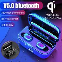 3500mAh LED TWS SENZA FILI CUFFIE STEREO AURICOLARI bluetooth 5.0 Qi WIRELESS