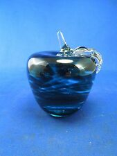 Dark Green Teal Solid Art Glass Apple by Monte Dunlavy Paperweight