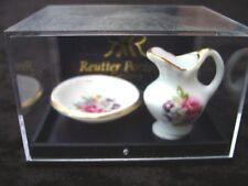 Porcelain Floral Wash Bowl Set Miniature Dollhouse D16 Pitcher & Bowl Reutter
