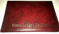 BURGUNDY MASONIC LEATHER CERTIFICATE HOLDER - in faulk Leather look stitch-