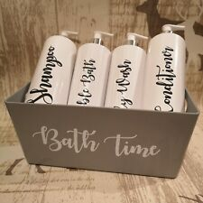 Mrs Hinch White Dispenser Pump Bottles with Grey Storage Box 500ml Bottle