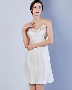 Women's 100% Pure Mulberry Silk Chemise Nightgown Lingeries Gown Silk Sleepwear