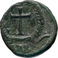 THEODOSIUS II 425AD Authentic Ancient Roman Coin Wreath, cross within i46741