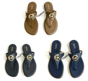 Women MK Michael Kors Marlena Thong Leather Flat Sandals Big MK Logo Leather