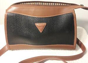 Vintage Guess Pebbled Black & Brown Crossbody Bag Purse