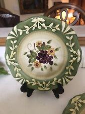 12 La Todcans Salad Plates Hand painted Ceramic Green Fruit Leaf Design