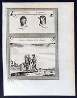 1755 Prevost & Schley Antique Print of the Palikur & Akawaio Indians of Guyana