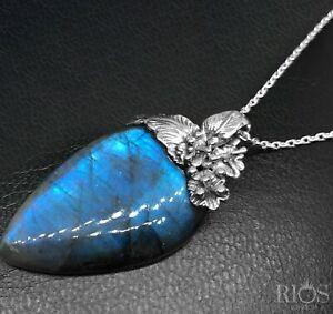 925 Sterling Silver Elegant Floral Labradorite Big Gemstone Necklace Pendant