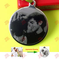 JR Personalised Necklace Pendant Engraved Photo Name for Lover Birthday Gift