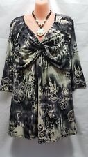 Autograph V neck cross over black and grey pattern top or tunic  size  18