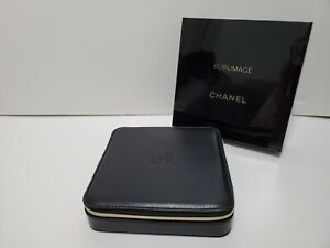Chanel Faux Leather Jewelry Cosmetic Box Logo CC Sublimage Black and Gold (NIB)