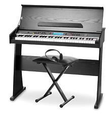 PIANO DIGITAL TECLADO ELECTRICO 61 TECLAS SET SOPORTE BANQUETA AURICULARES HIFI