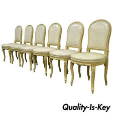 Set of 6 French Louis Xv Style Carved & Painted Cream Leather Dining Chairs