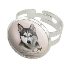 Siberian Husky Dog Breed Silver Plated Adjustable Novelty Ring