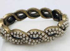 J. Crew Gold Brass Tone Twist White Pearl Bead bracelet Oval Hinged Bangle