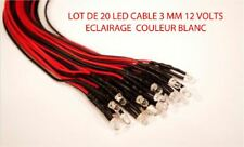 Jouef Lima Roco Lot de 20 Led 3mm 12 Volts Cables Blanc Clair Trains Ho  1/87