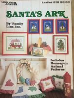 Cross Stitch Santa's Ark Leisure Arts Pattern Booklet Christmas Homespun Animals