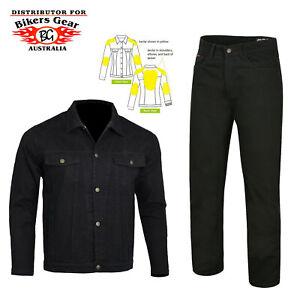 Biker Gear AUSTRLIA Motorbike Racing Denim Jeans Jacket Suit Lined With Kevlar