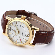 Gold Case Army Military White Dial Date Analog Brown Leather Men's Quartz Watch