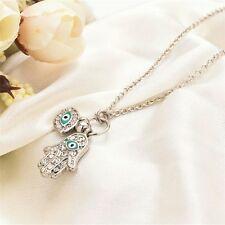 Fatima Mano Fatima turco blu malocchio collana pendente d'argento + Sacchetto Regalo UK