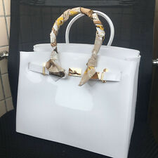 Pure White ! Women  Metal Buckle Candy Color PVC Jelly Handbag Plastic Tote Bag