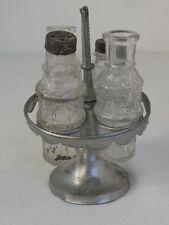 "Antique Miniature Pewter & Glass Doll Toy Child's Cruet Castor Set4"" tall"