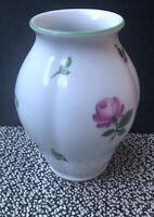White Pink & Green Floral AUGARTEN VIENNA Austrian 6 Inch Vase Pot Ornament