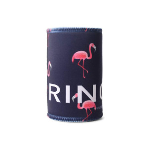 Limited Edition Stubby Cooler - Flamingo Print on Dark Navy
