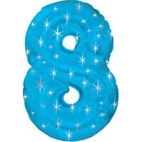 Giant Blue Number 8 Foil Birthday Balloon Helium or Air Fill Party Balloons