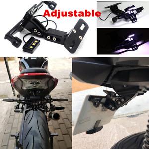 Black Motorcycle License Plate Mount Holder Tail Light LED Bracket Universal