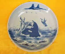 A Chinese Imperial Blue Porcelain Round Plate Long Life Gold With Elk Pattern