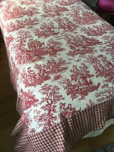 Twin Full Queen Red TOILE Gingham Cotton Coverlet Bedspread Custom Handmade