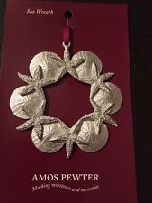 Amos Pewter Sea Wreath Starfish And Sand Dollars New Fine Pewter