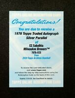 2020 Topps Archives CC SABATHIA 1976 TRADED AUTOGRAPH SILVER AUTO /99 76TA-CCS
