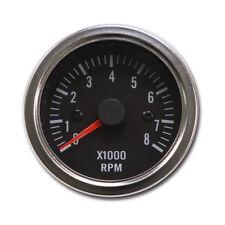 52 mm Tachometer Auto Gauge Black Face Chrome Rim 0 8000 RPM LED Light