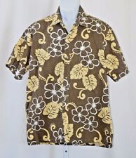 "Two Paddles Hawaii Made Banana Leaves Mens XL 50"" Brown Button Front Camp Shirt"