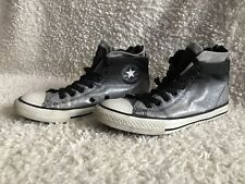Converse ALL STAR SKULL con cerniera posteriore Argento Glitter & Scarpe Da Ginnastica Nero Taglia 2