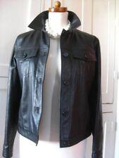 Ladies M&S black leather short fitted JACKET COAT SHIRT denim type size UK 10 8