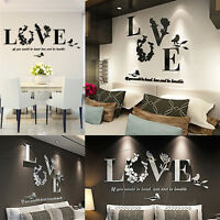Removable 3D Leaf LOVE Wall Sticker Art Vinyl Decals  Home Room Mural Decoration