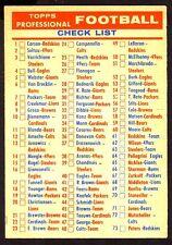 1956 TOPPS CHECK LIST CARD NO:NMO NEAR MINT