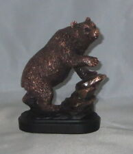 "Bear On Rock Bronzed Statue 6"" High Wildlife New in Box Wild Animal Pawing"