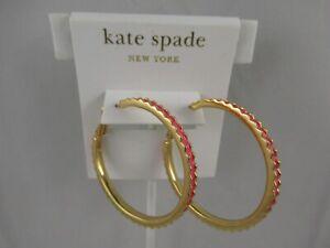 Signed Kate Spade New York Pink Enamel Gold Tone/Filled Pierced Hoop Earrings
