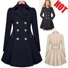 US Stock Women Slim Double Breasted Trench Coat Long Overcoat Jacket Windbreaker