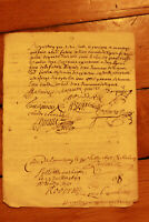 1697 LOUIS XIV royal notary signed manuscript nice signatures and calligraphy 2p